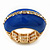 Blue Enamel Dome Shaped Stretch Cocktail Ring In Gold Plating - 2cm Length - Size 7/8 - view 5