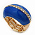 Blue Enamel Dome Shaped Stretch Cocktail Ring In Gold Plating - 2cm Length - Size 7/8 - view 9