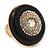Large Black Enamel, Diamante 'Button' Flex Ring In Gold Plating - 35mm Diameter - Size 7/8