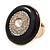 Large Black Enamel, Diamante 'Button' Flex Ring In Gold Plating - 35mm Diameter - Size 7/8 - view 5