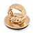 Large Black Enamel, Diamante 'Button' Flex Ring In Gold Plating - 35mm Diameter - Size 7/8 - view 6
