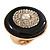 Large Black Enamel, Diamante 'Button' Flex Ring In Gold Plating - 35mm Diameter - Size 7/8 - view 2