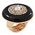 Large Black Enamel, Diamante 'Button' Flex Ring In Gold Plating - 35mm Diameter - Size 7/8 - view 7