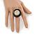 Large Black Enamel, Diamante 'Button' Flex Ring In Gold Plating - 35mm Diameter - Size 7/8 - view 4