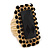 Square Black Acrylic Bead, Diamante Flex Cocktail Ring In Gold Plating - 35mm Across - Size 7/9