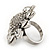 Rhodium Plated Diamante Sunflower Cocktail Ring - Size 7/8 Adjustable - view 8