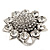 Rhodium Plated Diamante Sunflower Cocktail Ring - Size 7/8 Adjustable - view 9