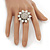 Rhodium Plated Diamante Sunflower Cocktail Ring - Size 7/8 Adjustable - view 3