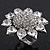Rhodium Plated Diamante Sunflower Cocktail Ring - Size 7/8 Adjustable - view 7