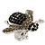 Rhodium Plated Swarovski Crystal Bumble Bee Cocktail Ring - Adjustable Size 8/9 (Grey and Black) - view 7