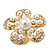 Caviar Simulated Pearl and Swarovski Crystal Floral Cocktail Ring in Gold Plating - 30mm Size 7/8 Adjustable - view 8