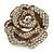 Oversized Embellished Rose Cocktail Ring In Burnt Gold Metal - Size 7/8 - Adjustable