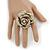 Oversized Embellished Rose Cocktail Ring In Burnt Gold Metal - Size 7/8 - Adjustable - view 2