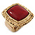 Burgundy Red Resin Stone Square Flex Ring In Gold Plating - 32mm Width - Size 7/9