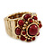 Vintage Burgundy Red Glass Stone, Crystal Floral Flex Ring In Burn Gold Finish - 20mm Diameter - Size 8/9 - view 6