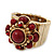 Vintage Burgundy Red Glass Stone, Crystal Floral Flex Ring In Burn Gold Finish - 20mm Diameter - Size 8/9 - view 7