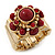 Vintage Burgundy Red Glass Stone, Crystal Floral Flex Ring In Burn Gold Finish - 20mm Diameter - Size 8/9 - view 8