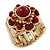 Vintage Burgundy Red Glass Stone, Crystal Floral Flex Ring In Burn Gold Finish - 20mm Diameter - Size 8/9 - view 5