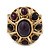 Vintage Purple Glass Stone Oval Flex Ring In Burn Gold Finish - 25mm Length - Size 8/9 - view 3