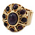 Vintage Purple Glass Stone Oval Flex Ring In Burn Gold Finish - 25mm Length - Size 8/9