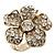 Clear Swarovski Crystal 'Flower' Cocktail Ring In Gold Plating - 30mm Diameter - Adjustable - Size 7/9