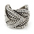 Vintage Inspired Wide Austrian Crystal, Etched Leaf Band Ring In Silver Tone - Size 8