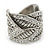 Vintage Inspired Wide Austrian Crystal, Etched Leaf Band Ring In Silver Tone - Size 8 - view 6