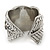 Vintage Inspired Wide Austrian Crystal, Etched Leaf Band Ring In Silver Tone - Size 8 - view 3