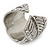 Vintage Inspired Wide Austrian Crystal, Etched Leaf Band Ring In Silver Tone - Size 8 - view 5