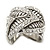 Vintage Inspired Wide Austrian Crystal, Etched Leaf Band Ring In Silver Tone - Size 8 - view 7