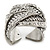 Vintage Inspired Wide Austrian Crystal, Etched Leaf Band Ring In Silver Tone - Size 8 - view 8