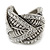 Vintage Inspired Wide Austrian Crystal, Etched Leaf Band Ring In Silver Tone - Size 8 - view 9