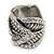 Vintage Inspired Wide Austrian Crystal, Etched Leaf Band Ring In Silver Tone - Size 8 - view 4