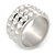 Wide Light Silver Matte/ Polished Spiky Band Ring