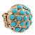 Dome Shape Light Blue Acrylic Bead Flex Ring In Gold Plating - 25mm Across - Size 6/7