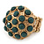 Dome Shape Green Acrylic Bead Flex Ring In Gold Plating - 25mm Across - Size 6/7