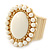 Milky White Ceramic Bead Oval Flex Ring In Brushed Gold Plating - 25mm Across - Size 7/8 - view 6