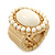 Milky White Ceramic Bead Oval Flex Ring In Brushed Gold Plating - 25mm Across - Size 7/8 - view 3