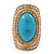 Turquoise Style Resin, Diamante Oval Flex Ring In Brushed Gold Finish - 37mm Across - Size 7/8 - view 4