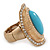 Turquoise Style Resin, Diamante Oval Flex Ring In Brushed Gold Finish - 37mm Across - Size 7/8 - view 5