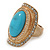 Turquoise Style Resin, Diamante Oval Flex Ring In Brushed Gold Finish - 37mm Across - Size 7/8 - view 3