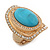 Turquoise Style Resin, Diamante Oval Flex Ring In Brushed Gold Finish - 37mm Across - Size 7/8 - view 7
