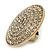 Statement Round Pave Set Swarovski Crystal Elements 'Discus' Stretch Ring - Adjustable 7/8 - 50mm Wide - view 8