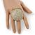 Statement Round Pave Set Swarovski Crystal Elements 'Discus' Stretch Ring - Adjustable 7/8 - 50mm Wide - view 2