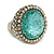 Statement Dome Shape Light Blue Glass, Glitter Crystal Flex Ring In Gold Tone - 33mm Across - Size7/8