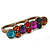 Vintage Multicoloured Cluster Crystal Bead Three Finger Ring In Bronze Metal - 60mm Width - view 3