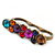 Vintage Multicoloured Cluster Crystal Bead Three Finger Ring In Bronze Metal - 60mm Width - view 4