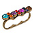 Vintage Multicoloured Cluster Crystal Bead Three Finger Ring In Bronze Metal - 60mm Width - view 2
