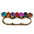 Vintage Multicoloured Cluster Crystal Bead Three Finger Ring In Bronze Metal - 60mm Width - view 6