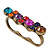 Vintage Multicoloured Cluster Crystal Bead Three Finger Ring In Bronze Metal - 60mm Width - view 7